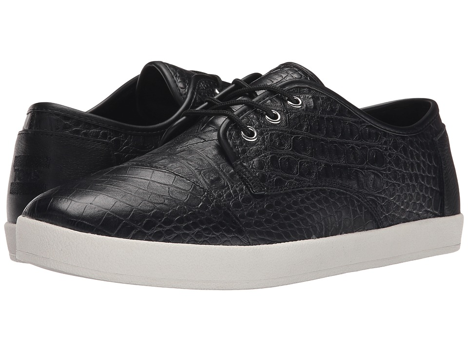 TOMS - Paseo (Black Full Grain Leather/Croc Embossed) Men