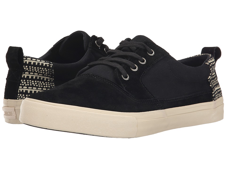 TOMS - Valdez (Black Suede/Cotton Twill/Tribal) Men's Lace up casual Shoes