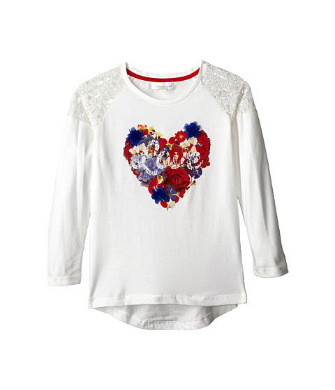 Pumpkin Patch Kids - Urban Folk Long Sleeve Heart Tee (Little Kids/Big Kids) (Vanilla) Girl's Clothing