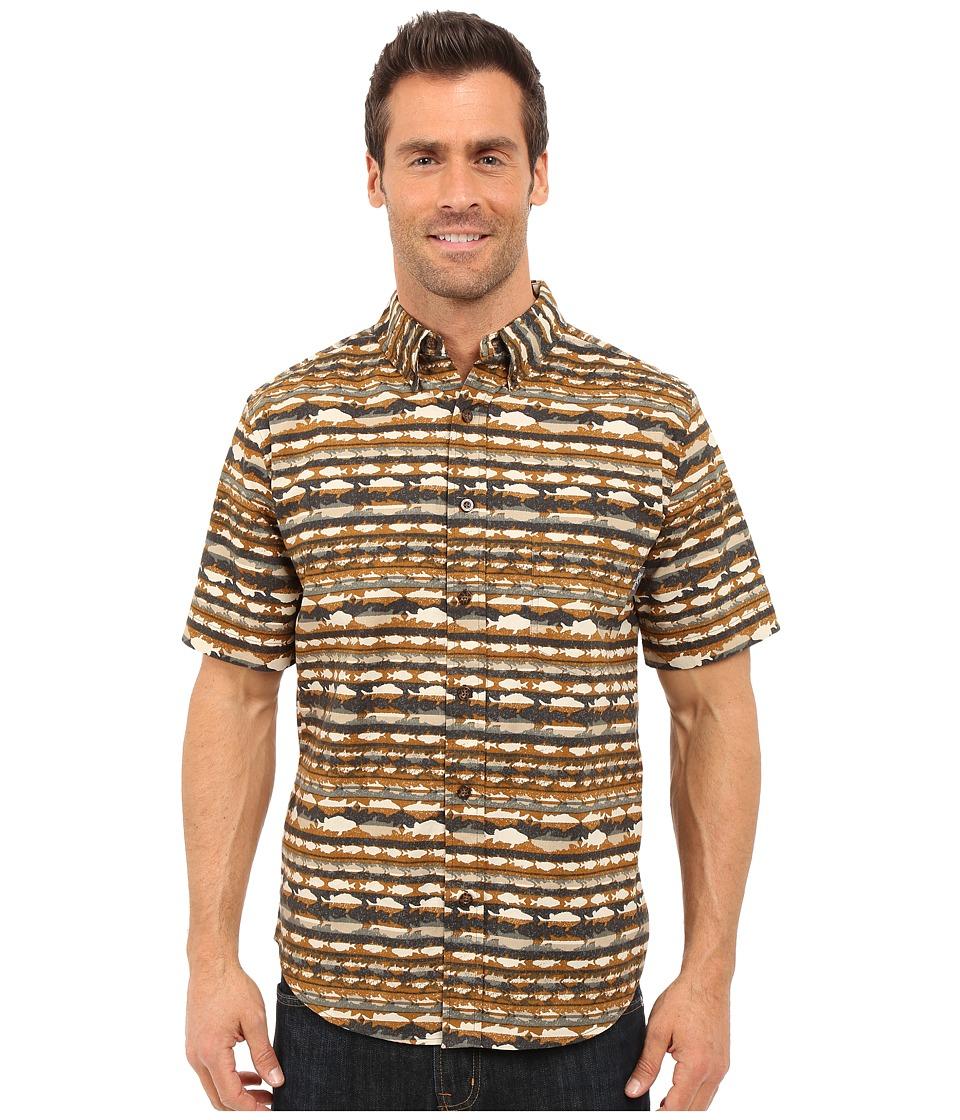 Woolrich - Walnut Run Printed Shirt (Chicory Stripe) Men's Short Sleeve Button Up