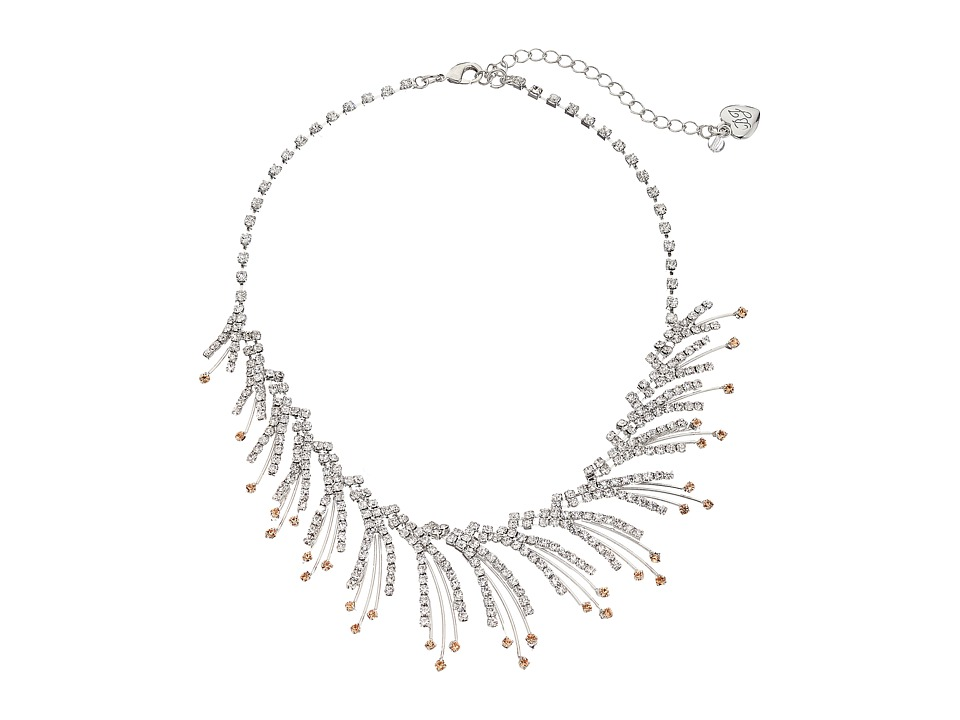 Betsey Johnson - Ballerina Rose Feather Spray Necklace (Crystal) Necklace