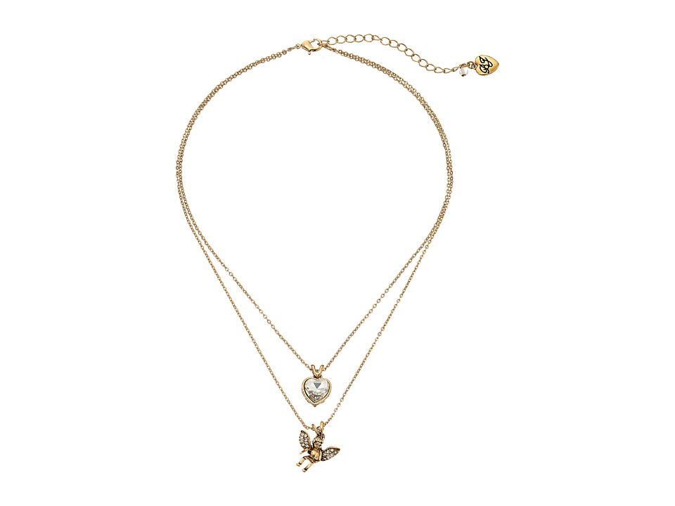 Betsey Johnson - Heaven Sent Angel Double Pendant Necklace (Crystal) Necklace