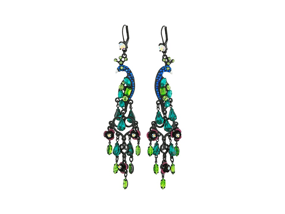 Betsey Johnson - Peacock Chandelier Earrings (Multi) Earring