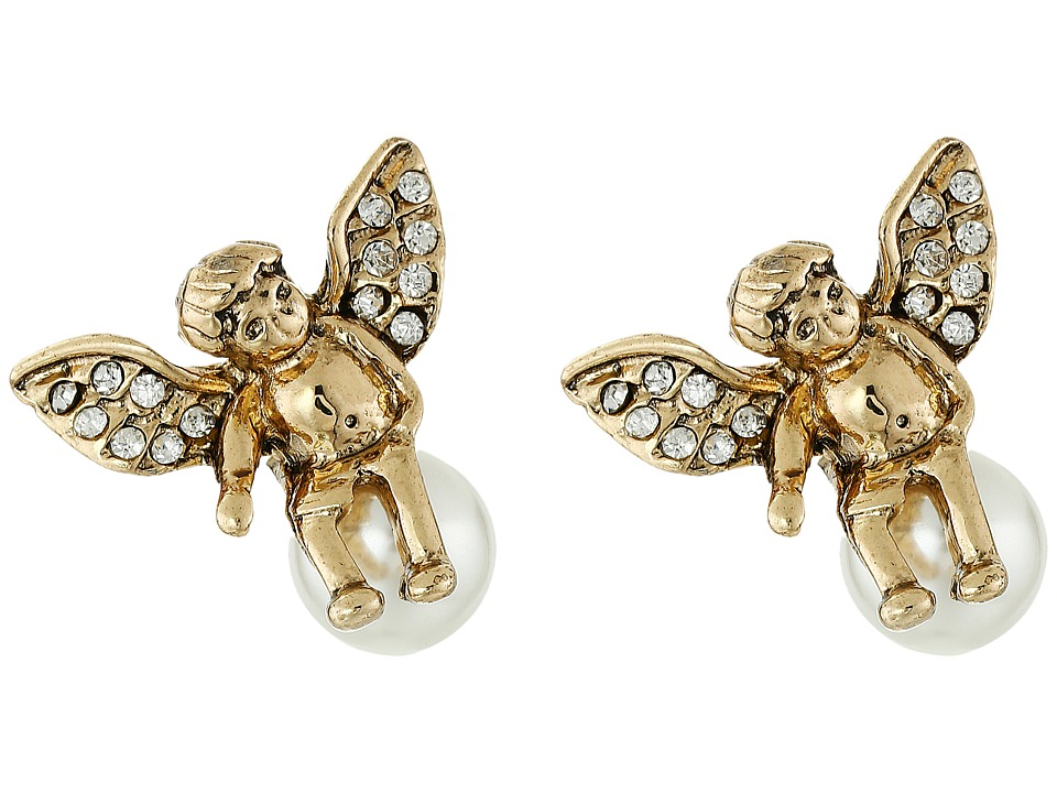 Betsey Johnson - Heaven Sent Angel Pearl Stud Earrings (Crystal) Earring