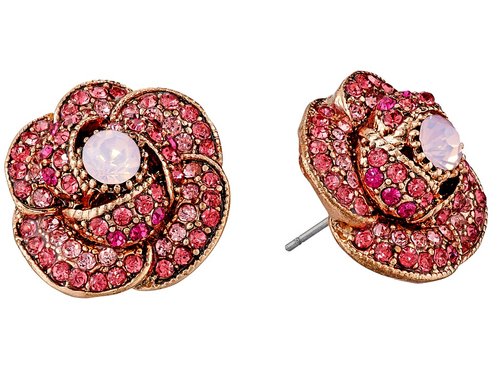 Betsey Johnson - Ballerina Rose Pave Stud Earrings (Pink) Earring
