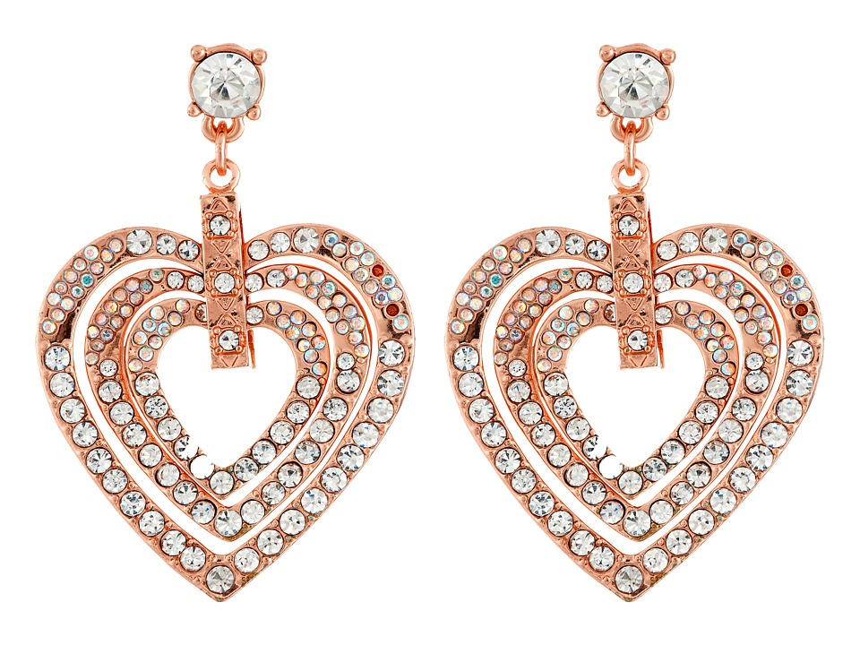 Betsey Johnson - Heart Drop Earrings (Crystal) Earring