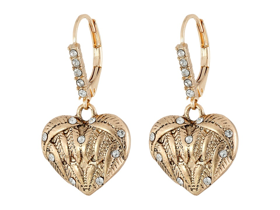 Betsey Johnson - Heaven Sent Heart Drop Earrings (Crystal) Earring