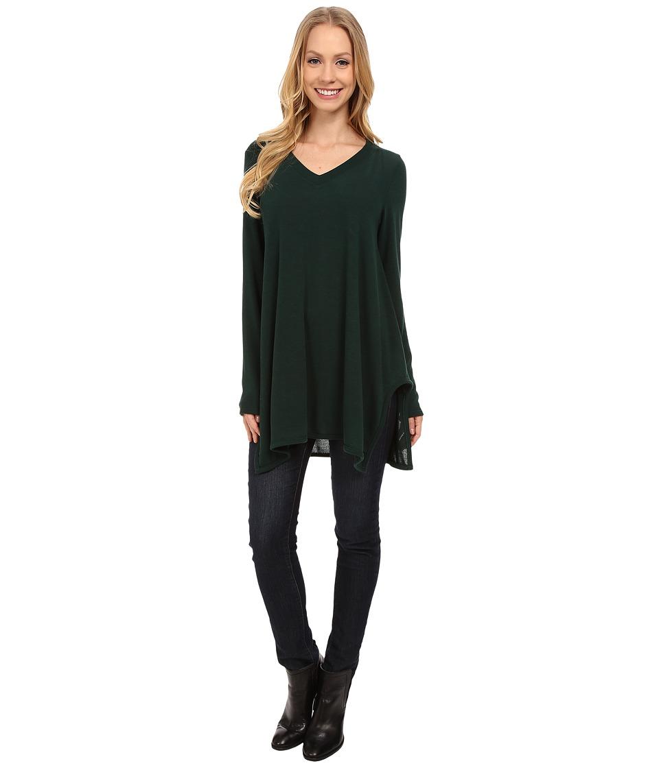 Nally & Millie - V-Neck Long Sleeve Sweater Tunic (Deep Forest) Women's T Shirt