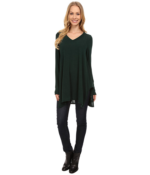 Nally & Millie - V-Neck Long Sleeve Sweater Tunic (Deep Forest) Women