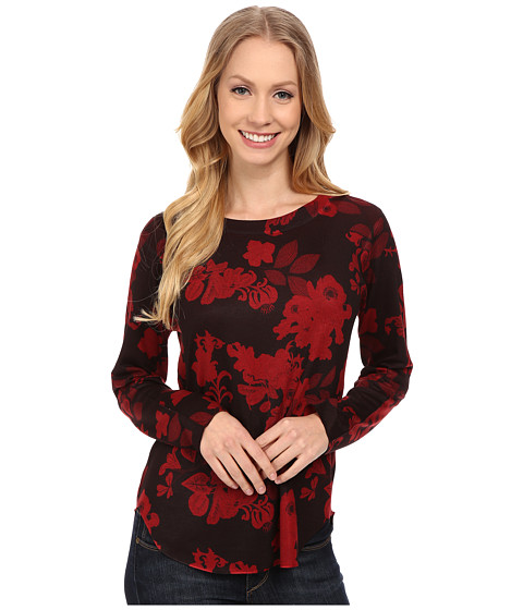 Nally & Millie - Red Floral Long Sleeve Top (Multicolor) Women's T Shirt