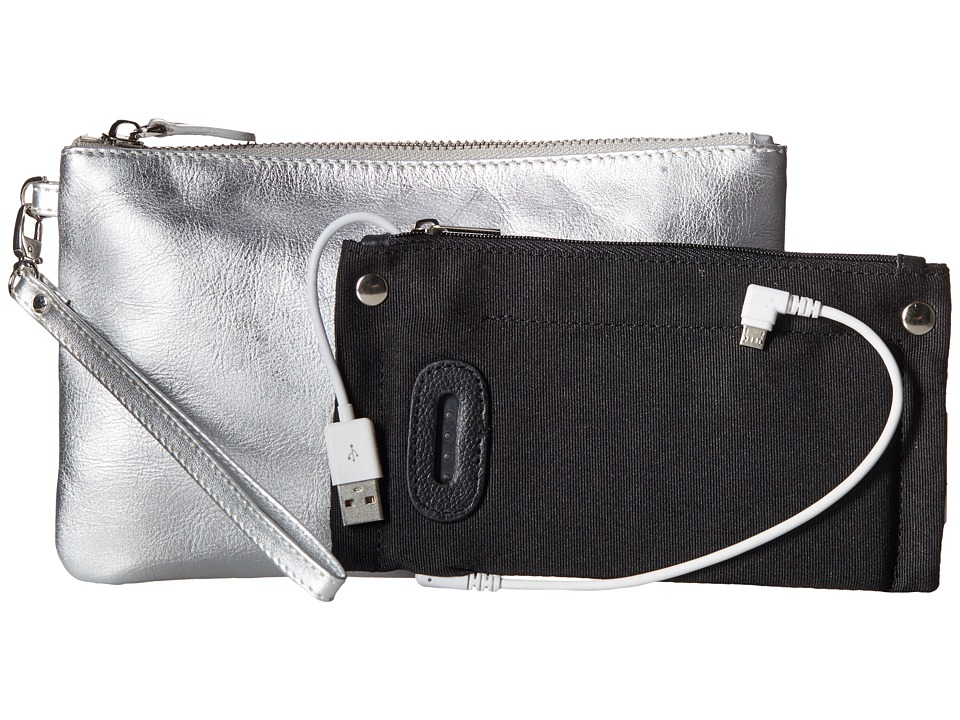 Mighty Purse - Cow Leather Charging Wristlet (Metallic Silver) Handbags