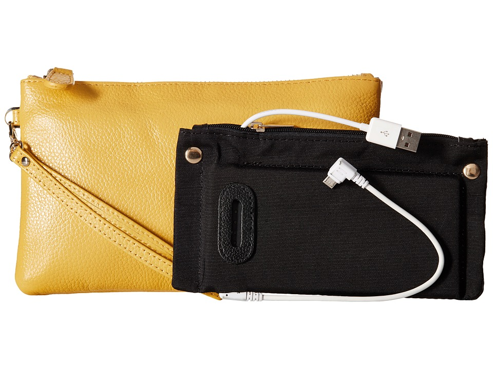 Mighty Purse - Coated Cow Leather Charging Wristlet (Squeaky Yellow) Wristlet Handbags