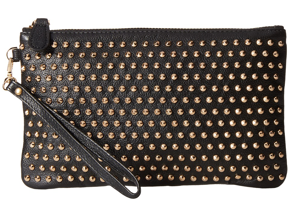 Mighty Purse - Cow Leather Gold Stud Wristlet (Black/Large Old Studs) Wristlet Handbags