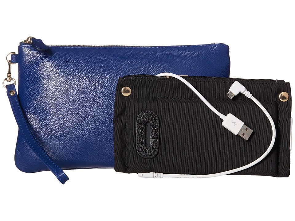 Mighty Purse - Coated Cow Leather Charging Wristlet (Navy) Wristlet Handbags