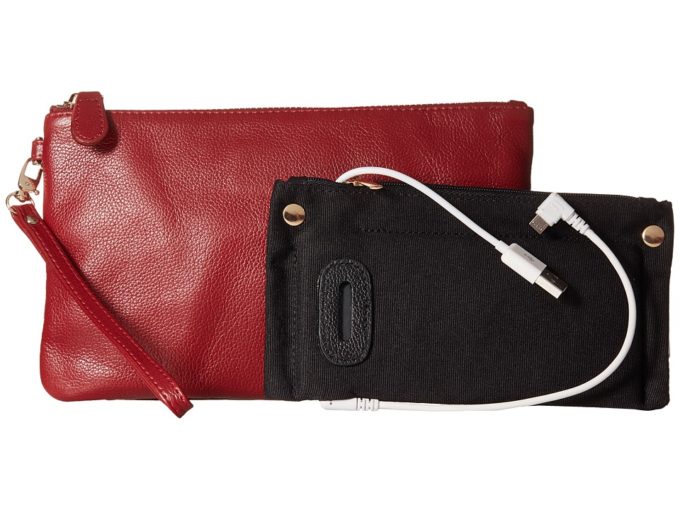 Mighty Purse - Coated Cow Leather Charging Wristlet (Wine Red) Wristlet Handbags