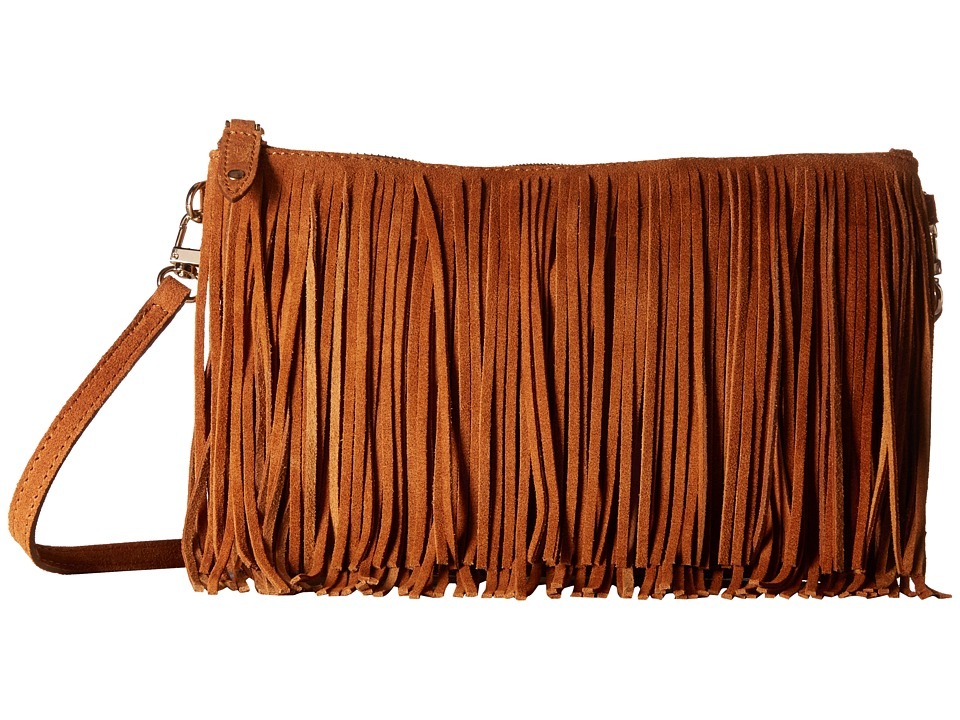 Mighty Purse - Fringe X-Body Bag (Brown Suede Leather) Cross Body Handbags