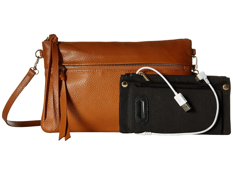 Mighty Purse - Luxe Charging Crossbody (Brown Cow Leather) Cross Body Handbags