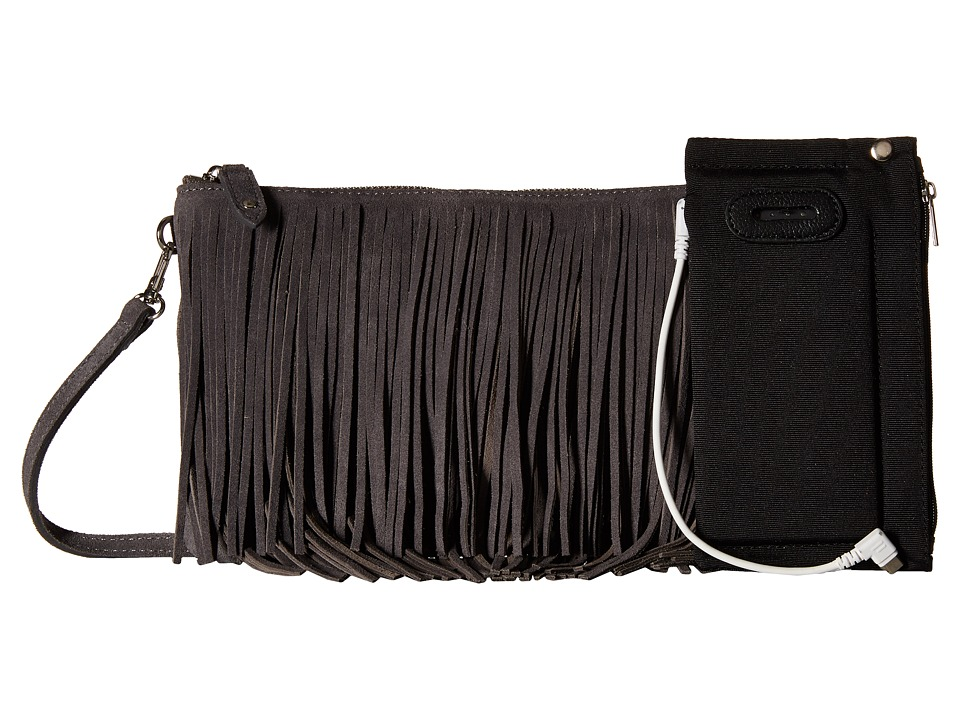 Mighty Purse - Fringe X-Body Bag (Grey Suede Leather) Cross Body Handbags