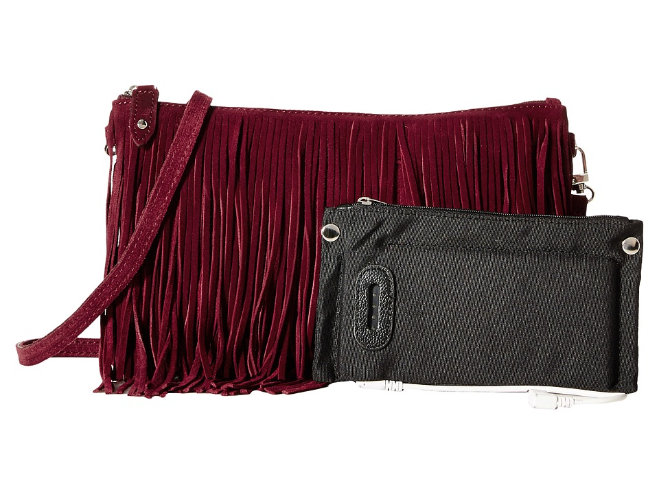 Mighty Purse - Fringe X-Body Bag (Black Suede Leather) Cross Body Handbags
