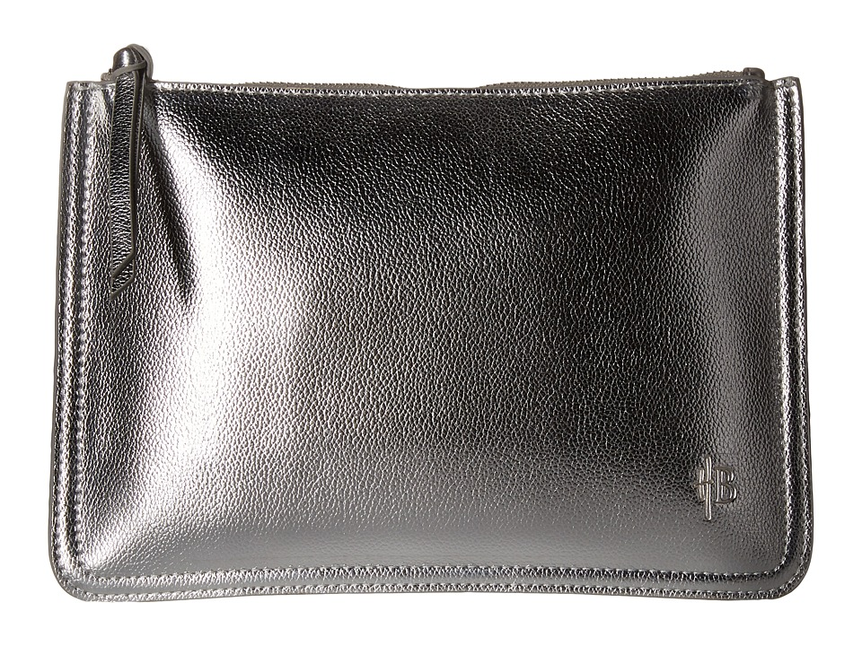 Mighty Purse - Vegan Leather Charging Two-Tone Clutch (Metallic Silver/Metallic Rose Gold) Clutch Handbags