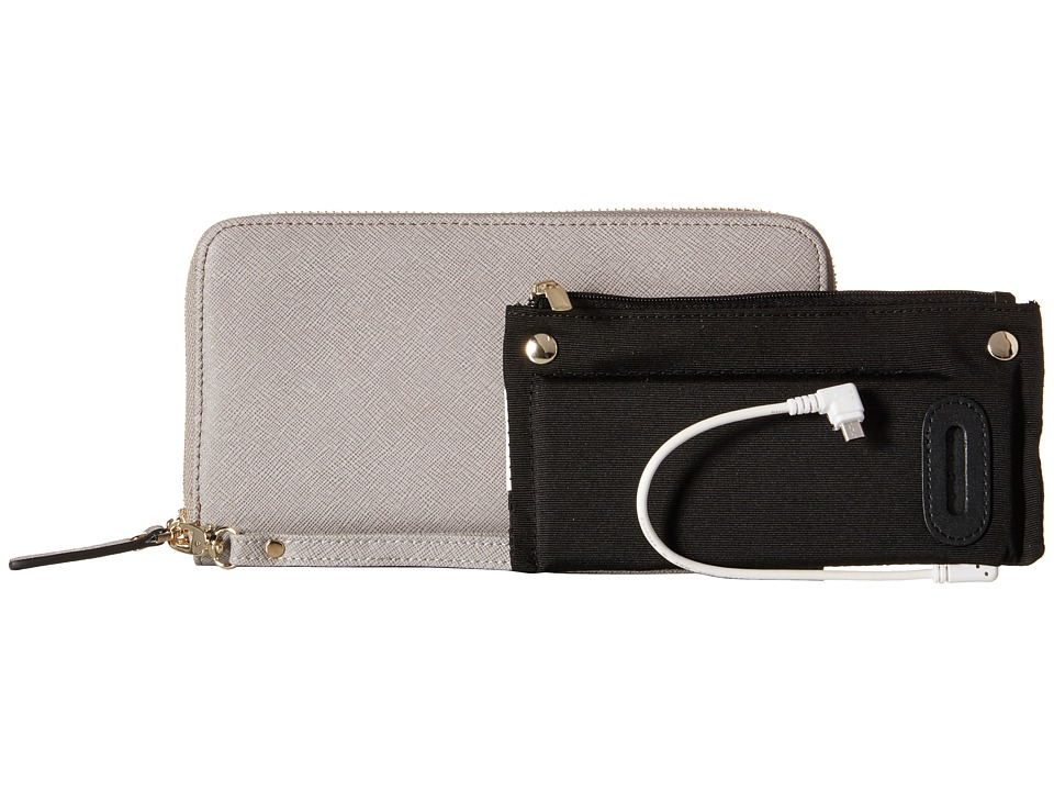 Mighty Purse - Saffiano Leather Charging Wallet (Grey) Wallet Handbags