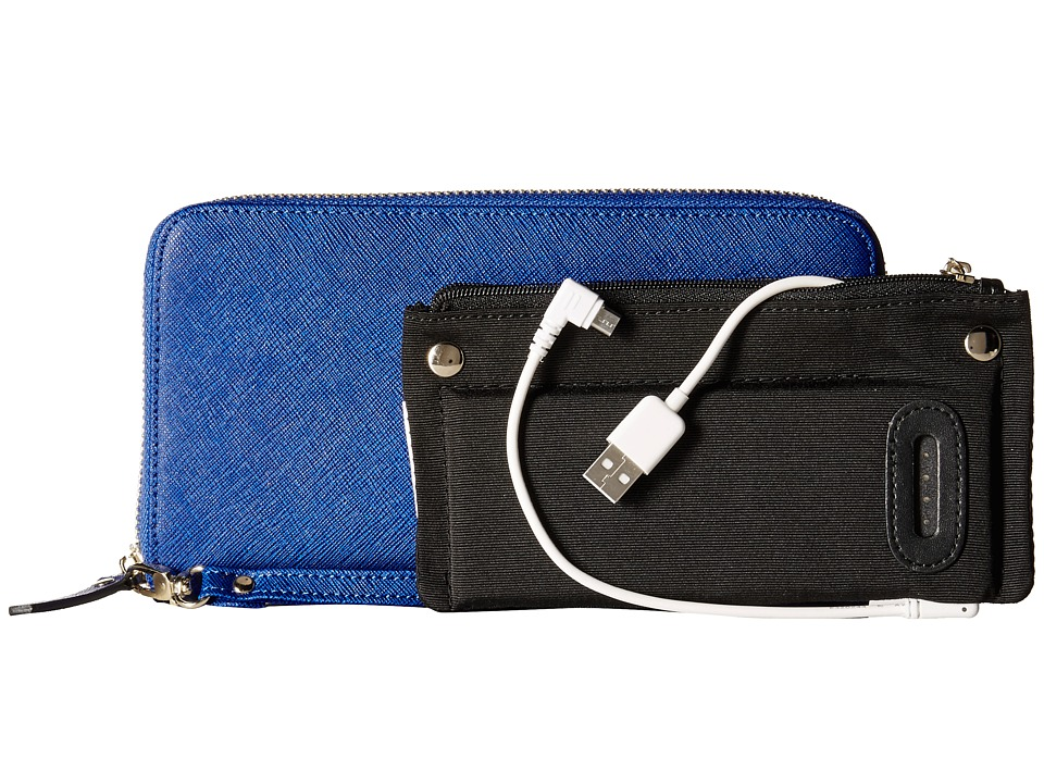 Mighty Purse - Saffiano Leather Charging Wallet (Electric Blue) Wallet Handbags