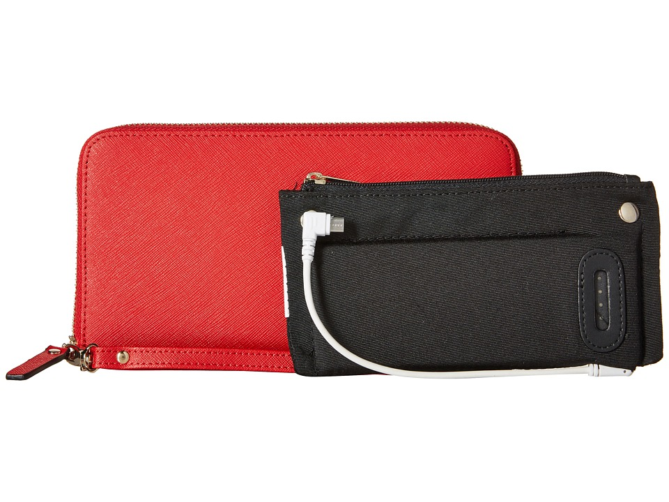 Mighty Purse - Saffiano Leather Charging Wallet (Red) Wallet Handbags