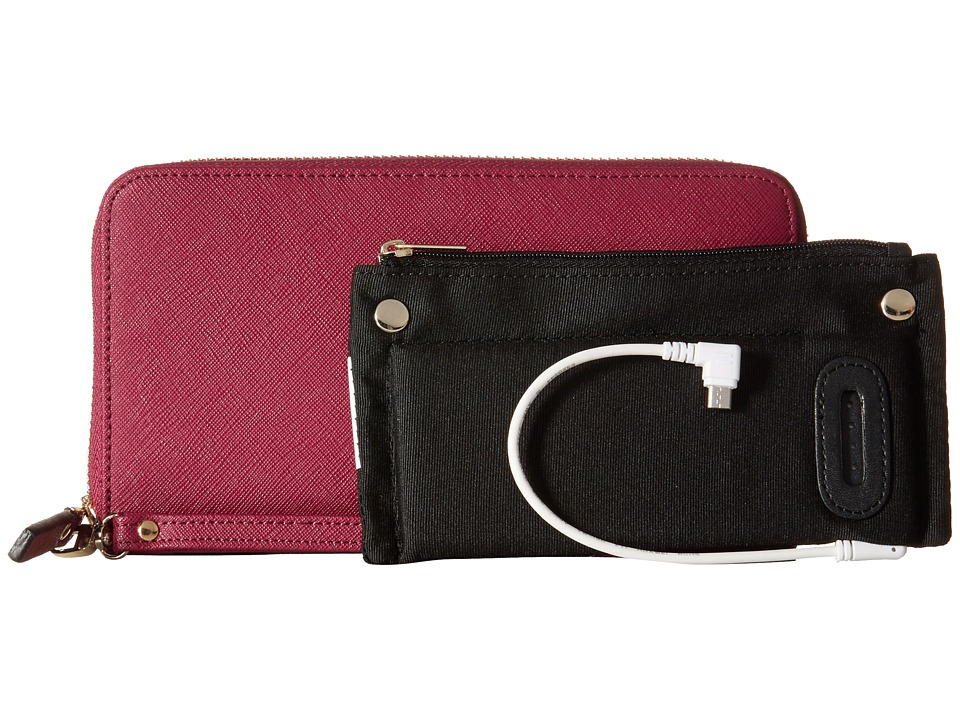 Mighty Purse - Saffiano Leather Charging Wallet (Berry) Wallet Handbags