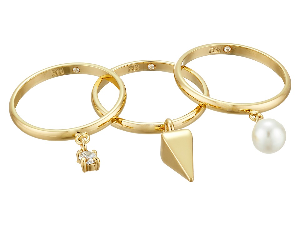 Rebecca Minkoff - Set of Three Pearl/Crystal Charms Rings (Gold/Pearl/Crystal) Ring