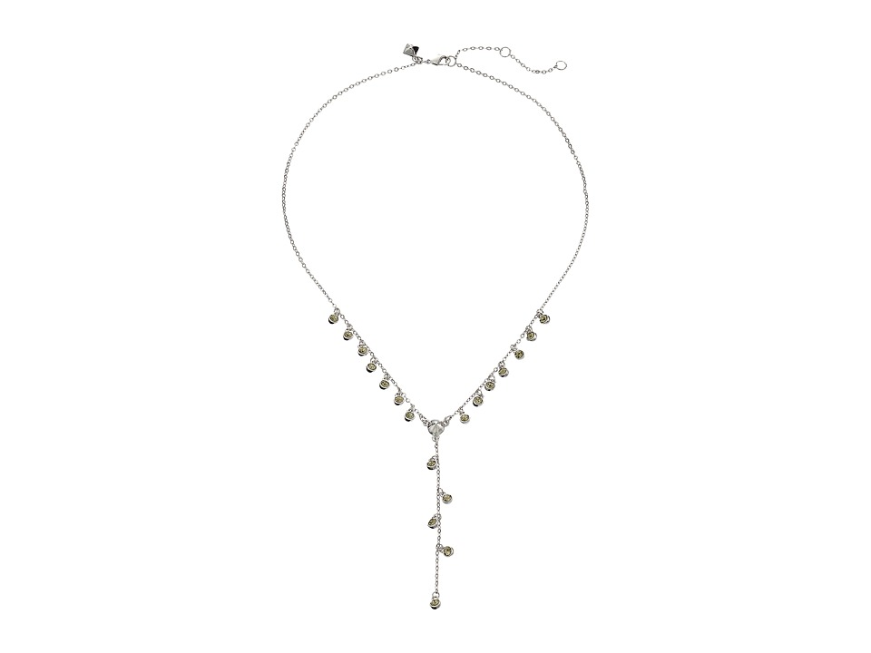 Rebecca Minkoff - Crystal Dainty Stone Y Necklace (Rhodium/Crystal) Necklace
