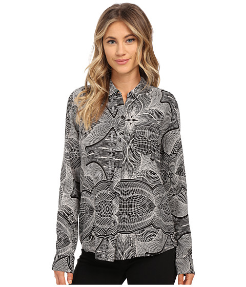Obey - Just Kids L/S Woven Shirt (Black/White) Women's Clothing