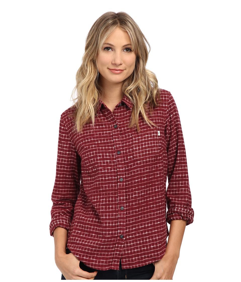 Obey - Fisk Long Sleeve Button Down (Burgundy Multi) Women
