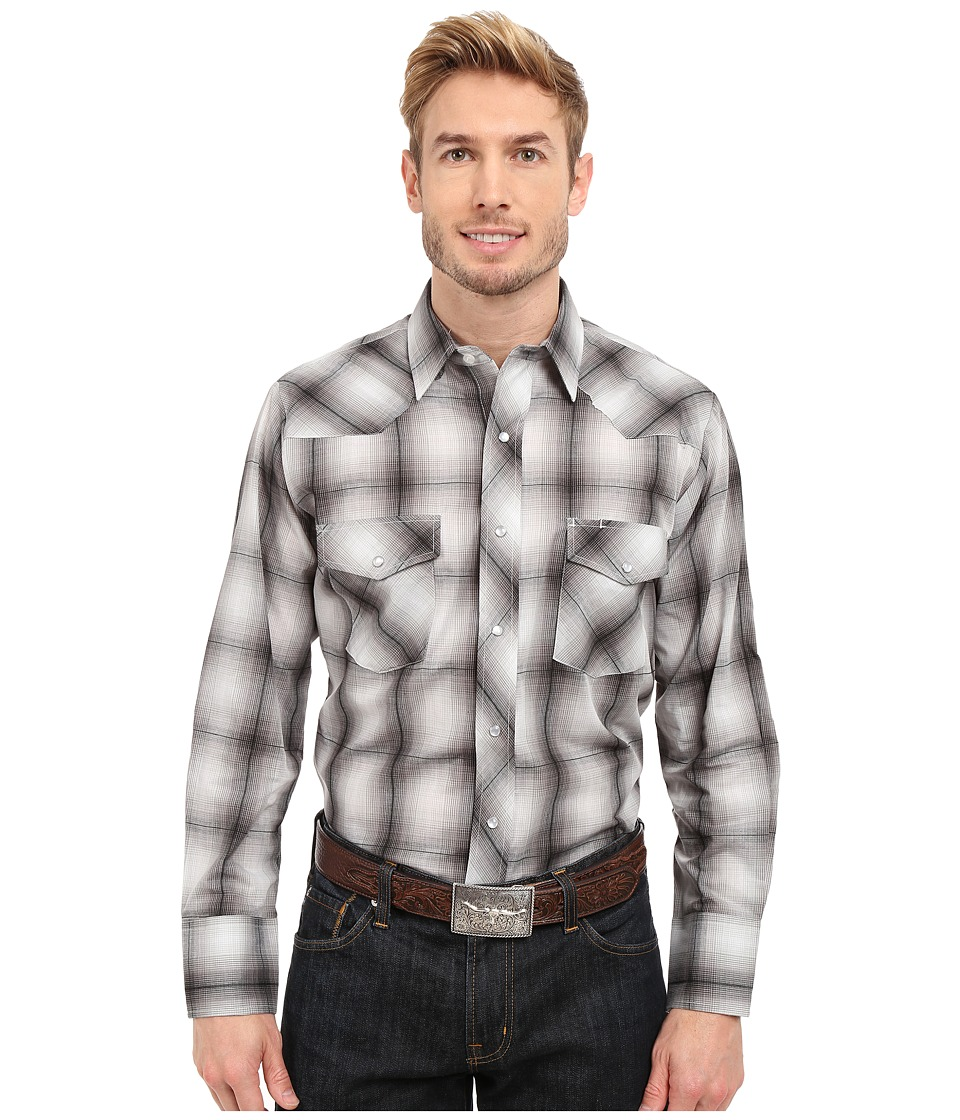 Roper - 0302 Tonal Plaid (Grey) Men's Long Sleeve Button Up