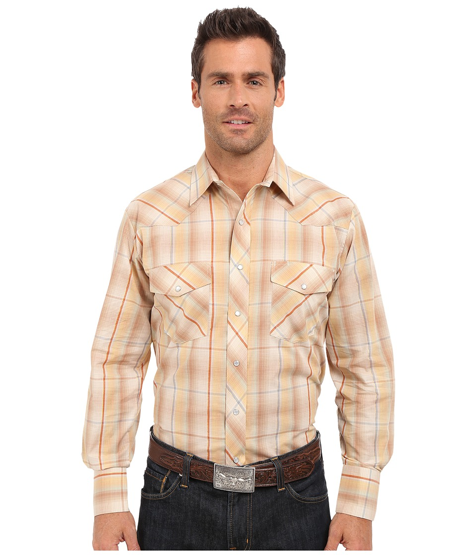 Roper - 0294 Earth Tone Plaid w/ Gold Lurex (Brown) Men's Long Sleeve Button Up