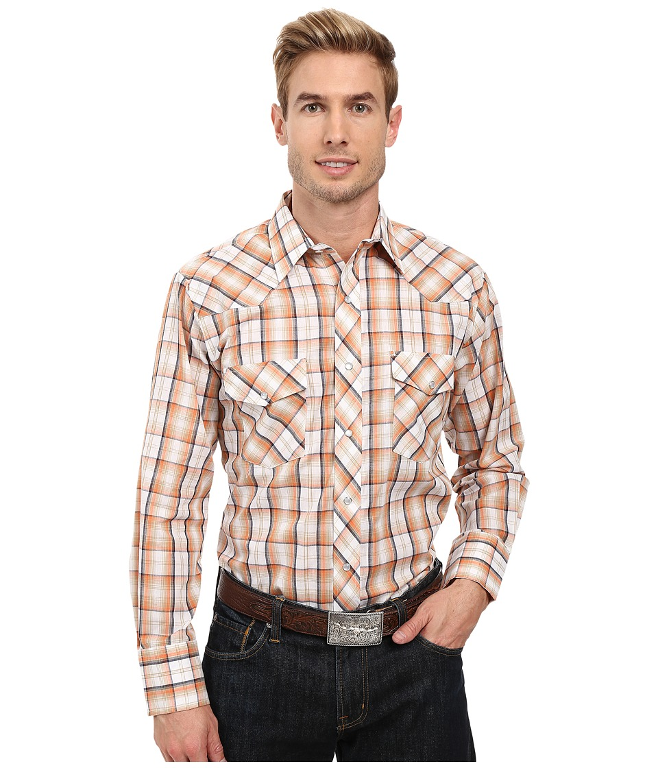 Roper - 0323 Orange Navy Plaid (Orange) Men's Clothing