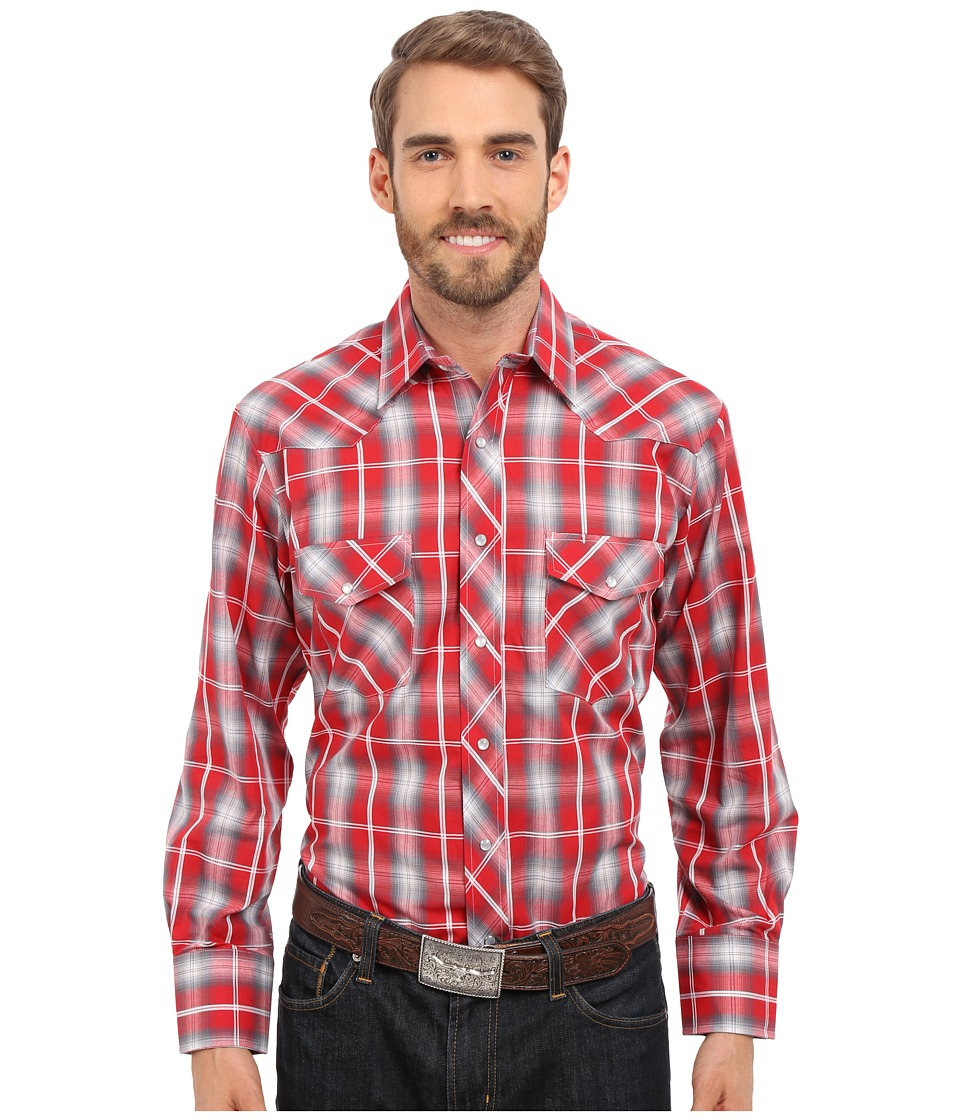 Roper - 0297 Red Grey Plaid (Red) Men's Long Sleeve Button Up
