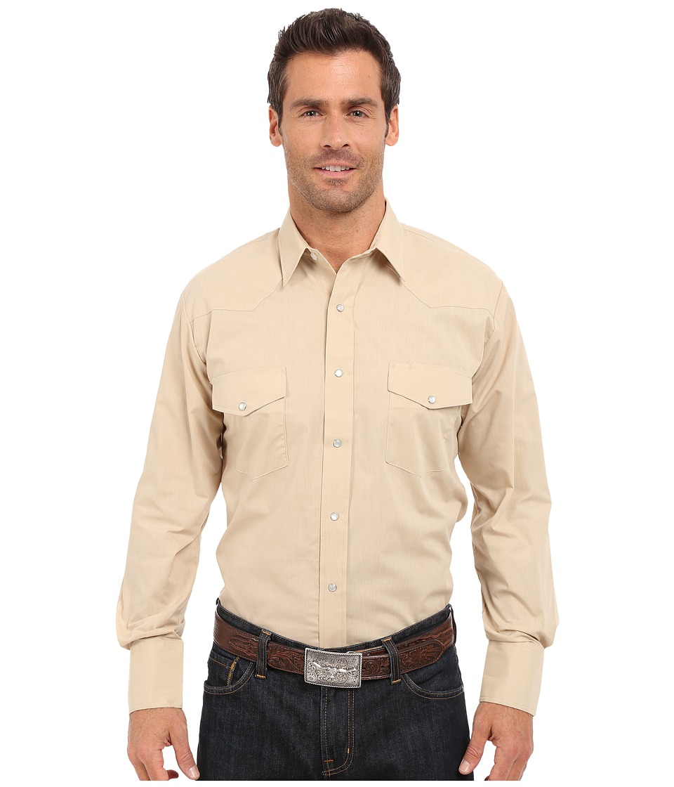 Roper - 0343 Solid Broadcloth (Brown) Men's Long Sleeve Button Up