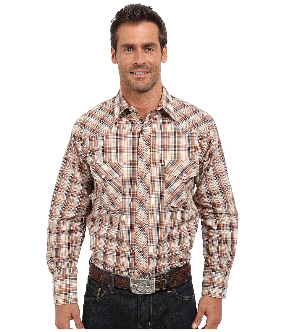 Roper - 0300 Navy Brown Plaid (Brown) Men's Long Sleeve Button Up