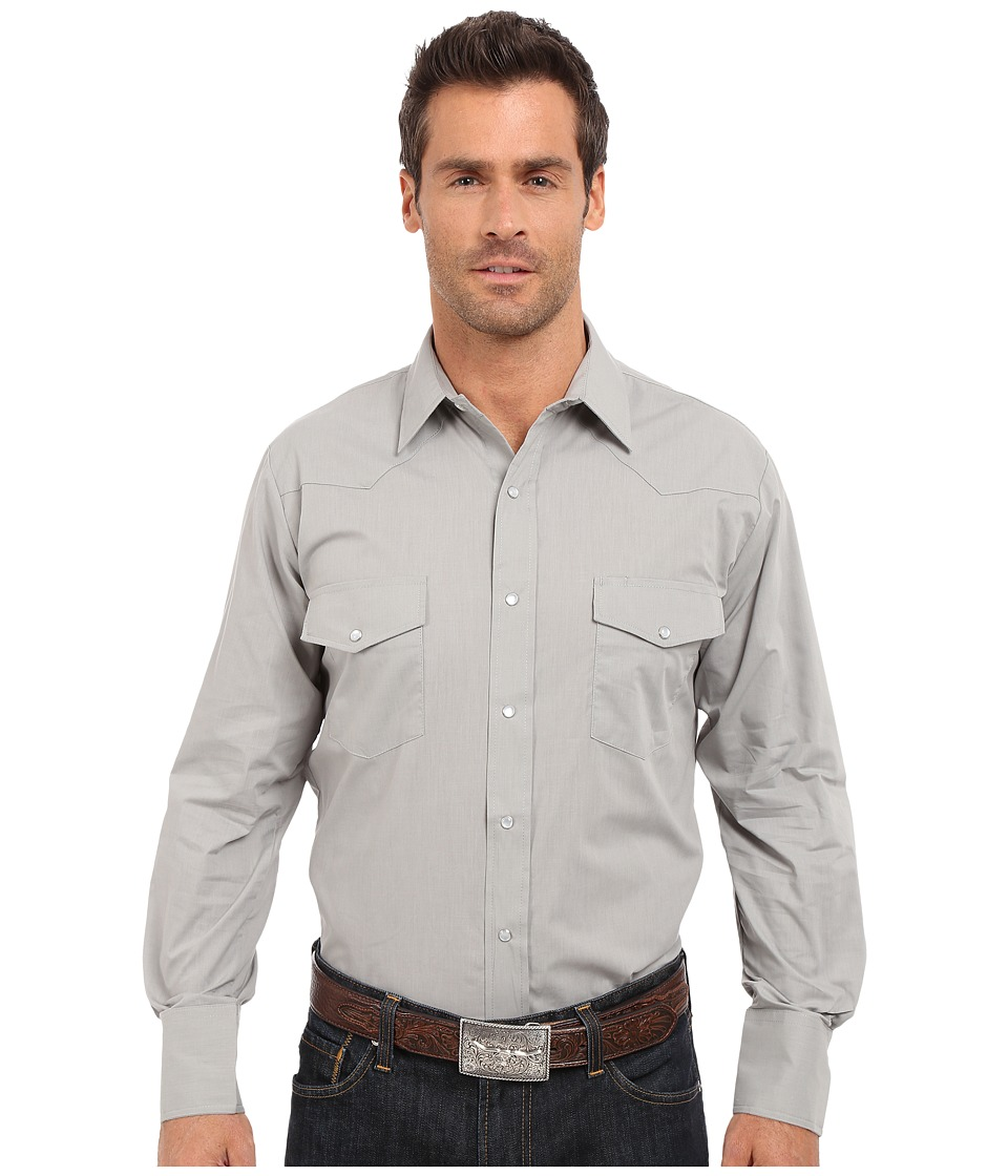 Roper - 0343 Solid Broadcloth (Grey) Men's Long Sleeve Button Up