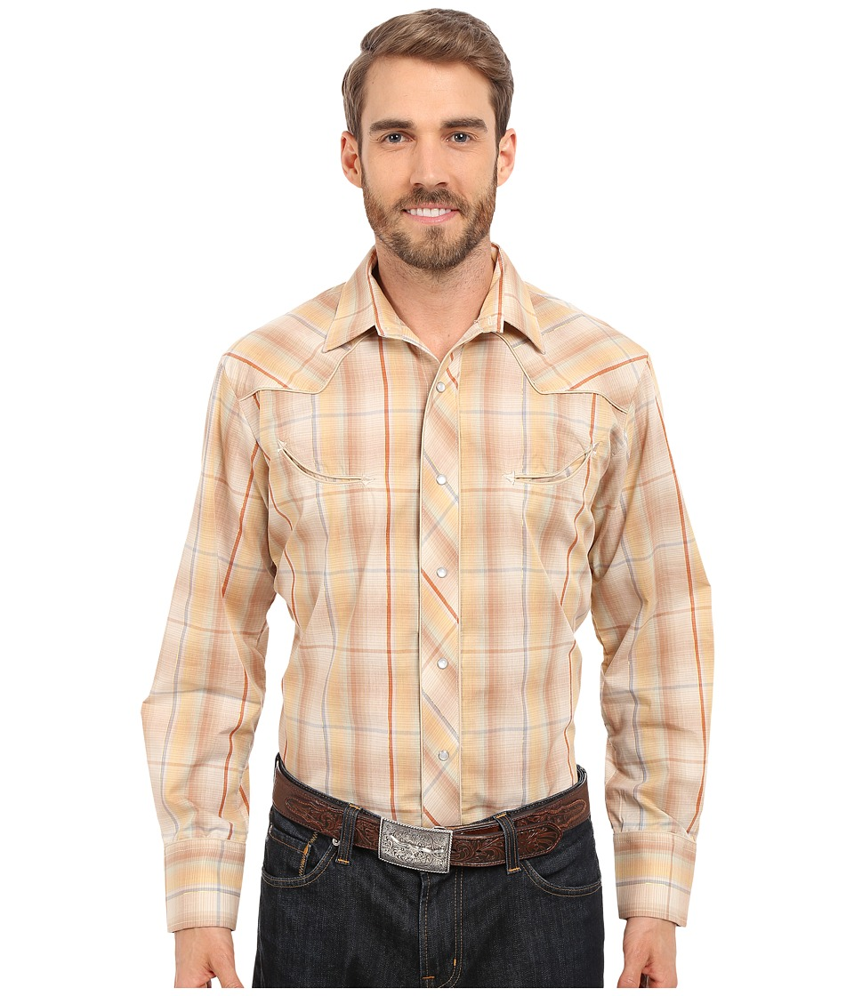 Roper - Embroidered 0294 Earth Tone Plaid w/ Gold Lurex (Brown) Men's Long Sleeve Button Up