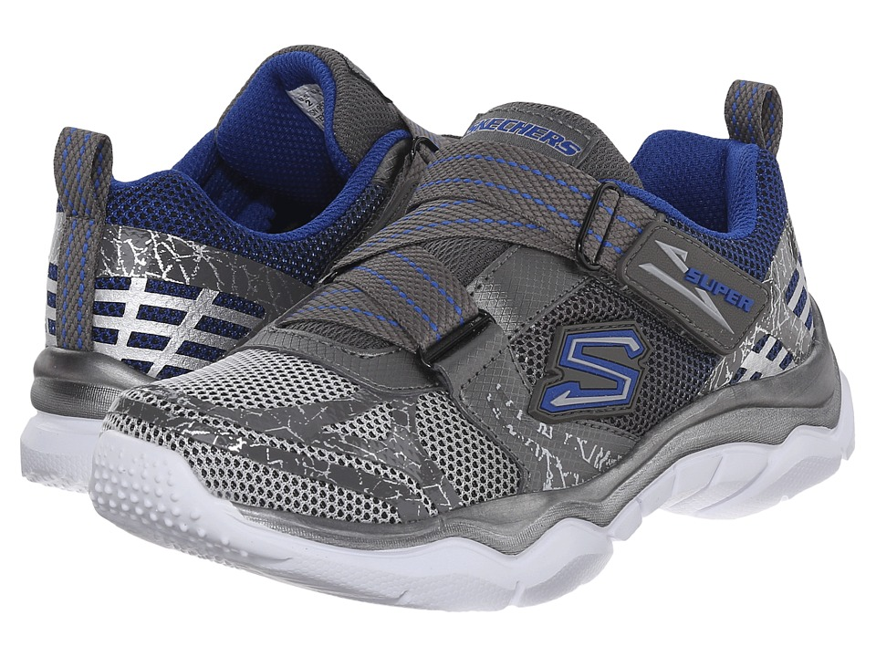 SKECHERS KIDS - Neutron (Little Kid) (Gunmetal/Blue) Boy's Shoes