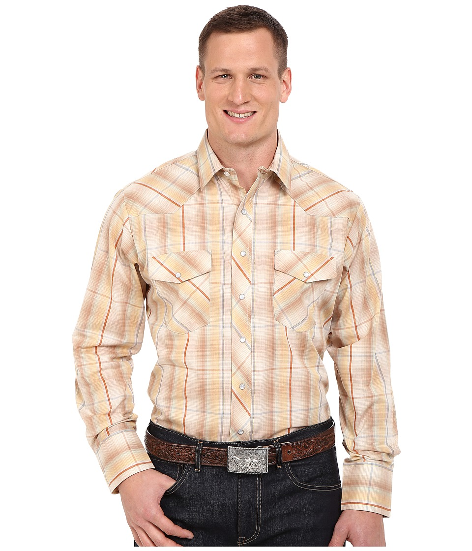 Roper - Big Tall 0294 Earth Tone Plaid w/ Gold Lurex (Brown) Men's Long Sleeve Button Up