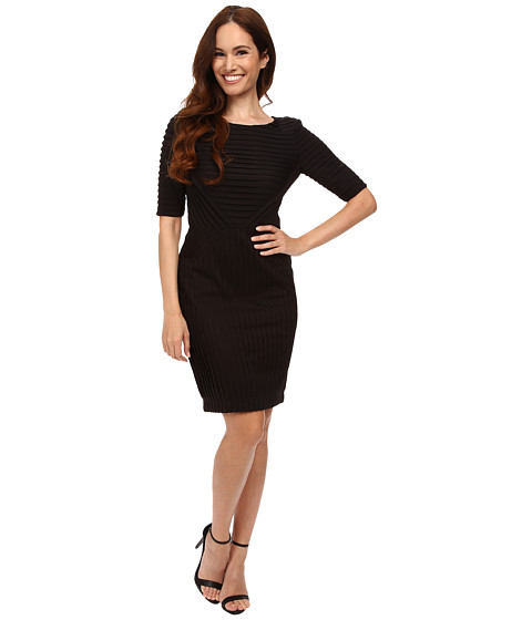 Tahari by ASL Petite - Petite Rib Knit (Black) Women's Dress