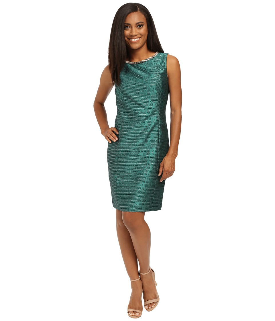 Tahari by ASL Petite - Petite Jacquard Sheath w/ Neck Beading (Emerald Green) Women's Dress