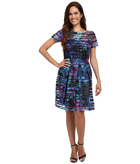 Tahari by ASL Petite - Petite Shadow Stripe Fit and Flare Dress (Black/Aqua/Violet) Women's Dress