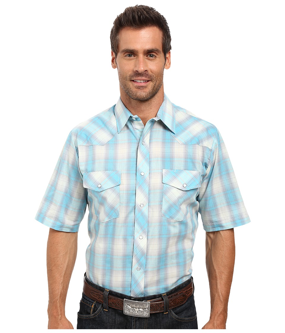 Roper - 0293 Turquoise Grey Plaid (Blue) Men's Clothing