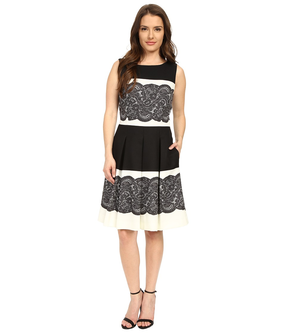 Tahari by ASL Petite - Petite Twill F F Dress (Black/Ivory) Women's Dress