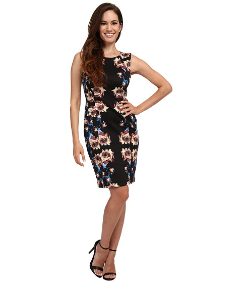 Tahari by ASL Petite - Petite Scuba Mirror Print Sheath Dress (Black/Taupe/Blue) Women's Dress