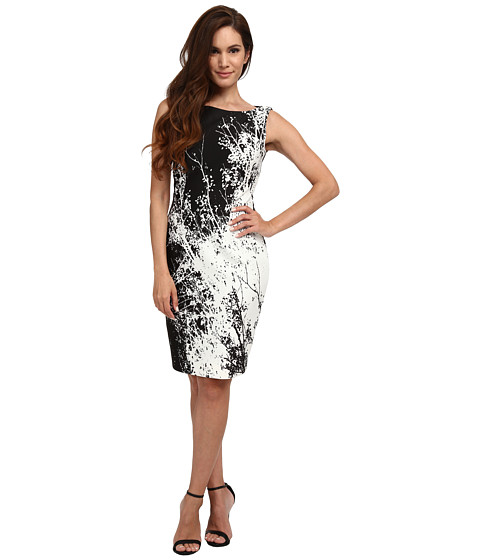 Tahari by ASL Petite - Petite Scuba Tree Print Sheath Dress (Black/White) Women