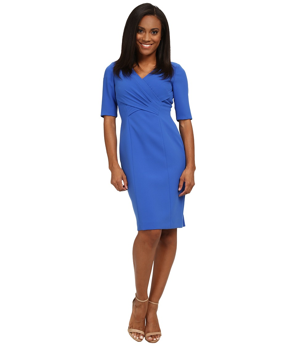 Tahari by ASL Petite - Petite Cross Front 3/4 Sleeve Dress (Royal) Women